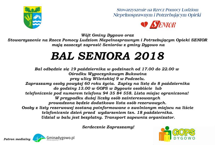 Zaproszenie Na Bal Seniora 2018 Gminadygowopl Portal